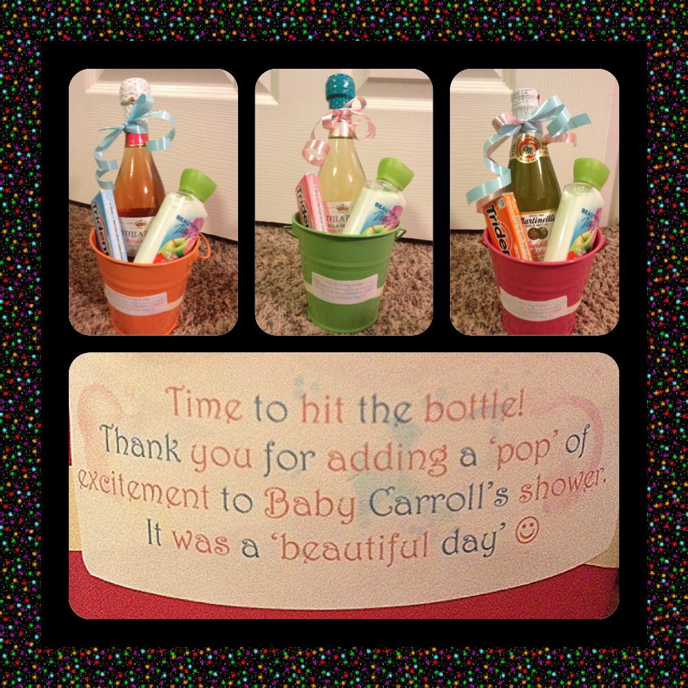 Baby shower hostess gift ideas - did these for my girlfriends: bottles of  sparkling wine/cider (for my pregnant friend), gum, and a bottle of lotion
