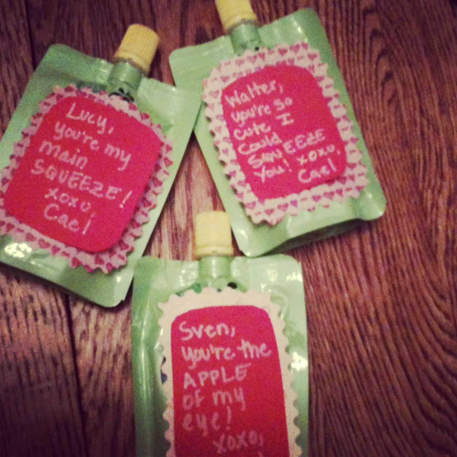 infant valentines on applesauce pouches crafts pinterest