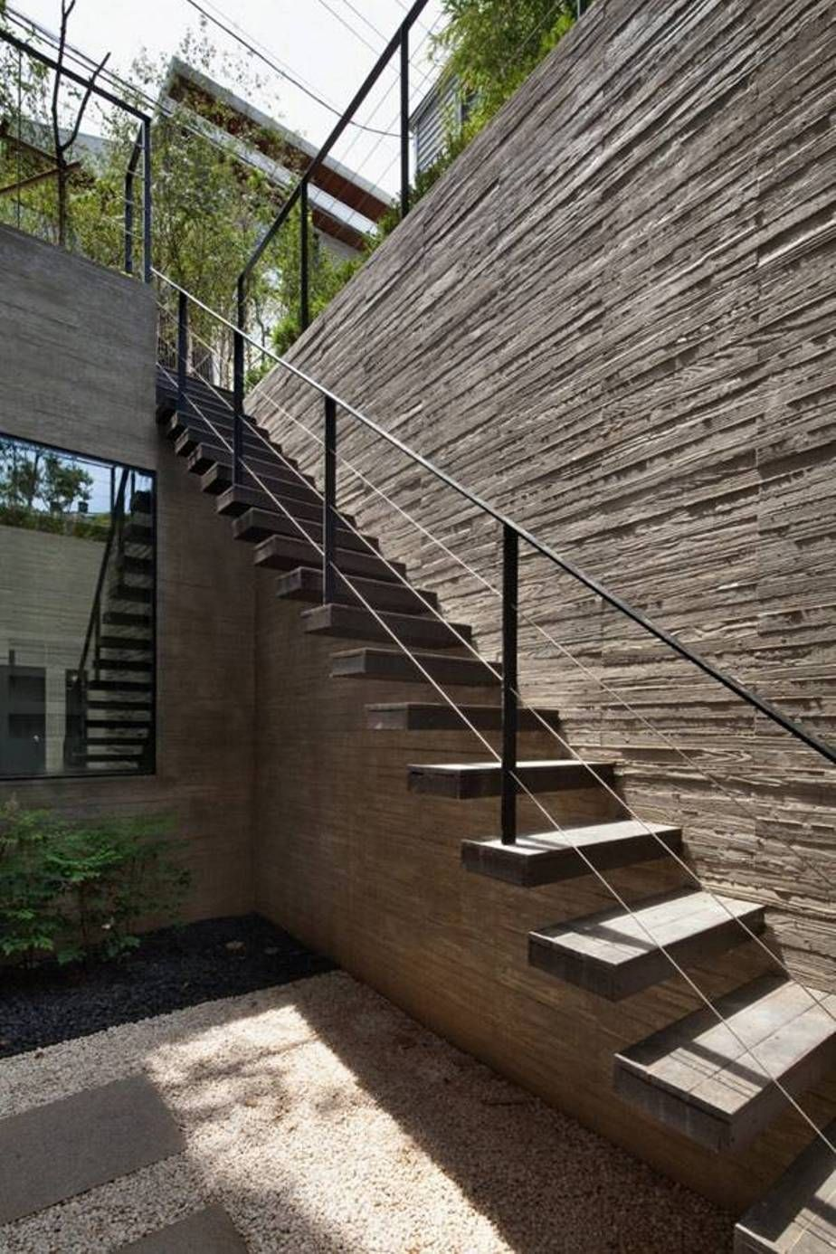Exceptionnel Landscaping And Outdoor Building , Exterior Stair Design Ideas : Floating  Wooden Exterior Stair Design