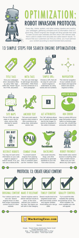 13 conseils simple pour le SEOVoilà une infographie réalisée par Marketing Zeus - pas mal le logo de la boîte - qui représente une série de 13 conseils simples d'optimisation de pages web pour les moteurs de recherche. L'infographie termine par le 13ème conseil : le contenu de qualité.