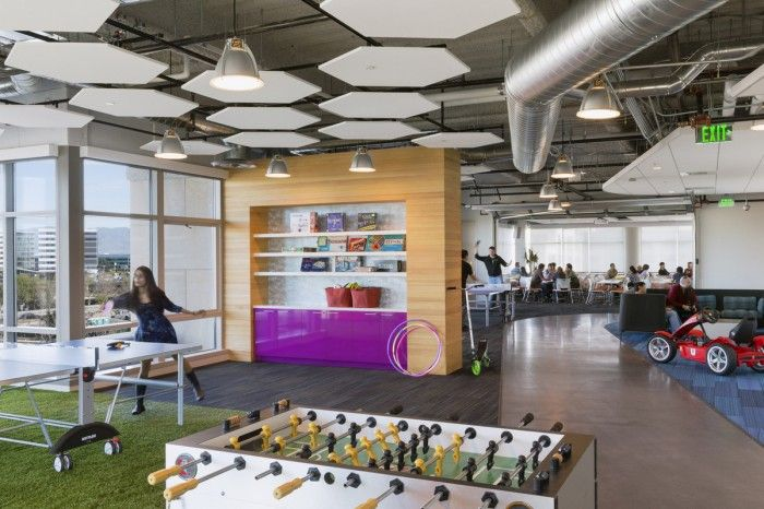 GoDaddy Game Area 700x466 GoDaddy Sunnyvale Offices #fun And Games  #Breakout #Google Inspired
