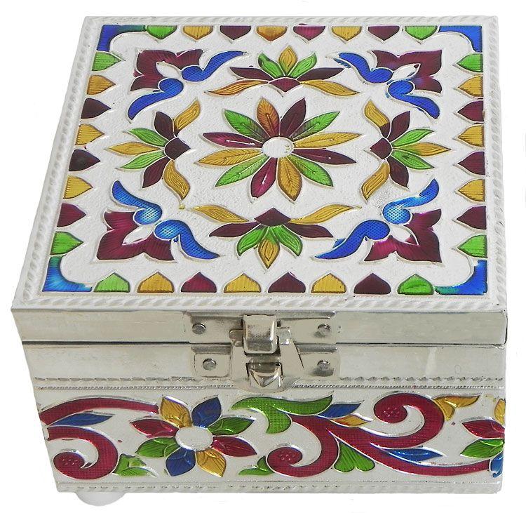 Meenakari Jewelry Box with Velvet Lining White metal