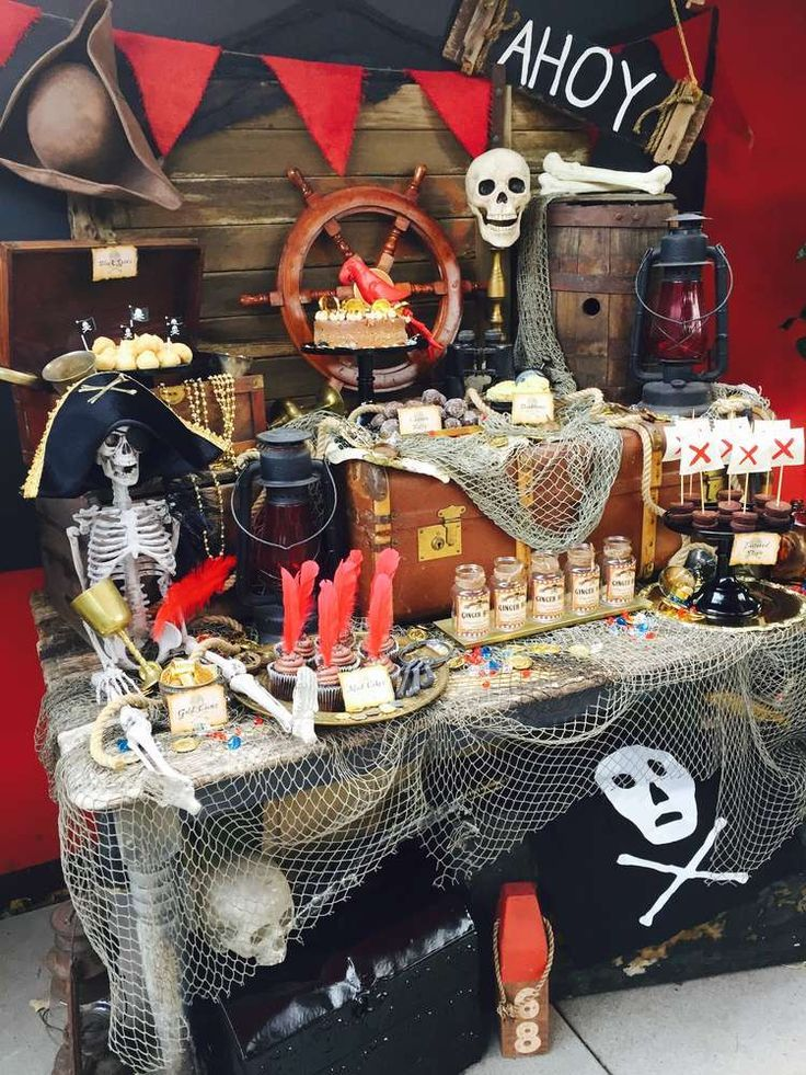 Pirate Birthday Party Ideas Photo 9 Of 23 Pirate Party Decorations Pirate Theme Party Pirate Themed Birthday