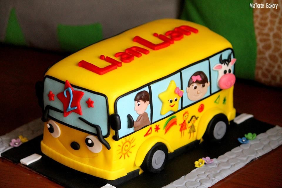 Incredible Wheels On The Bus Theme With Images Bus Cake School Bus Cake Personalised Birthday Cards Cominlily Jamesorg