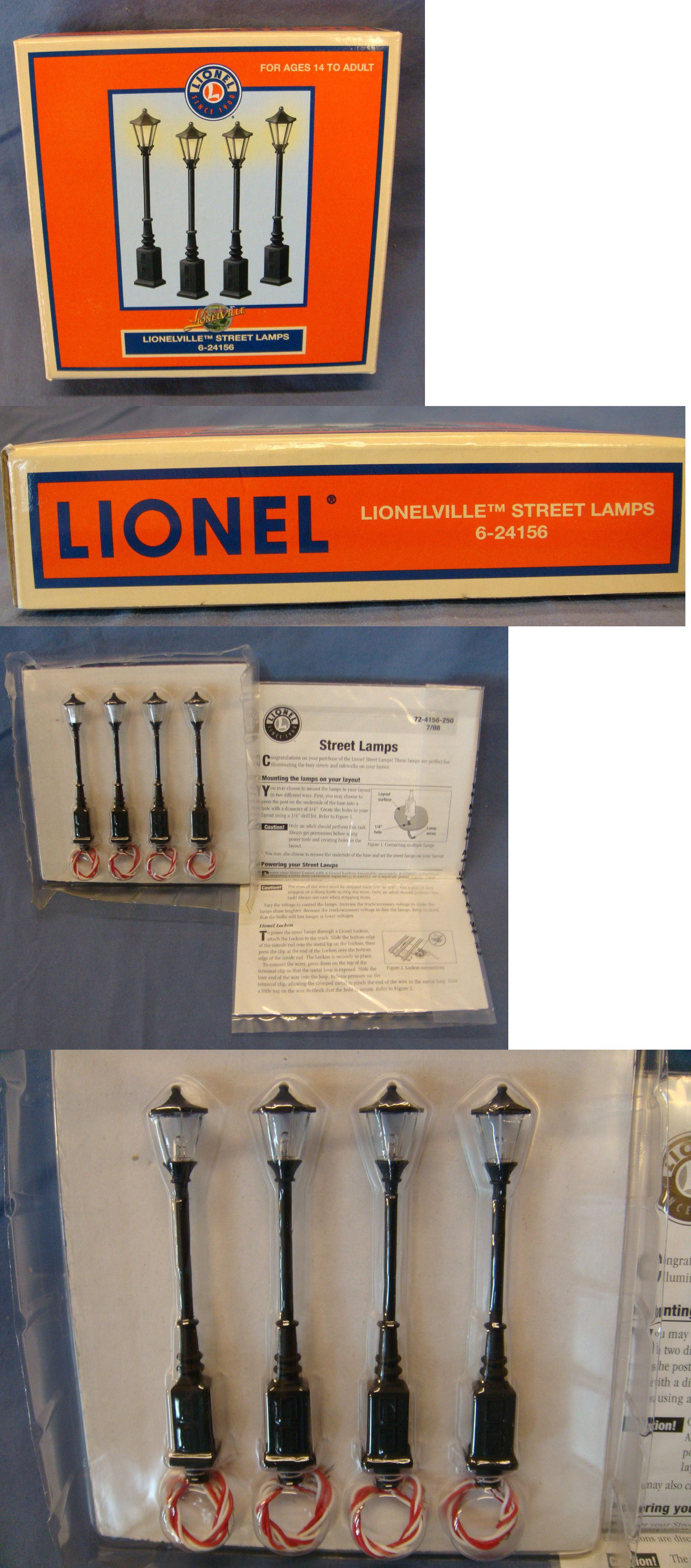 Lamps and lights 81048 lionel lionelville street lamps 6 24156 o scale new in box buy it now only 28 on ebay