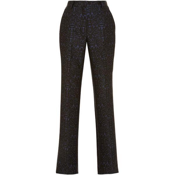 Zac Posen Dark Midnight Oak Jaquard Stretch Pant (€1.330) ❤ liked on Polyvore featuring pants, straight leg pants, high waisted black pants, high rise black pants, stretchy pants and high waist stretch pants