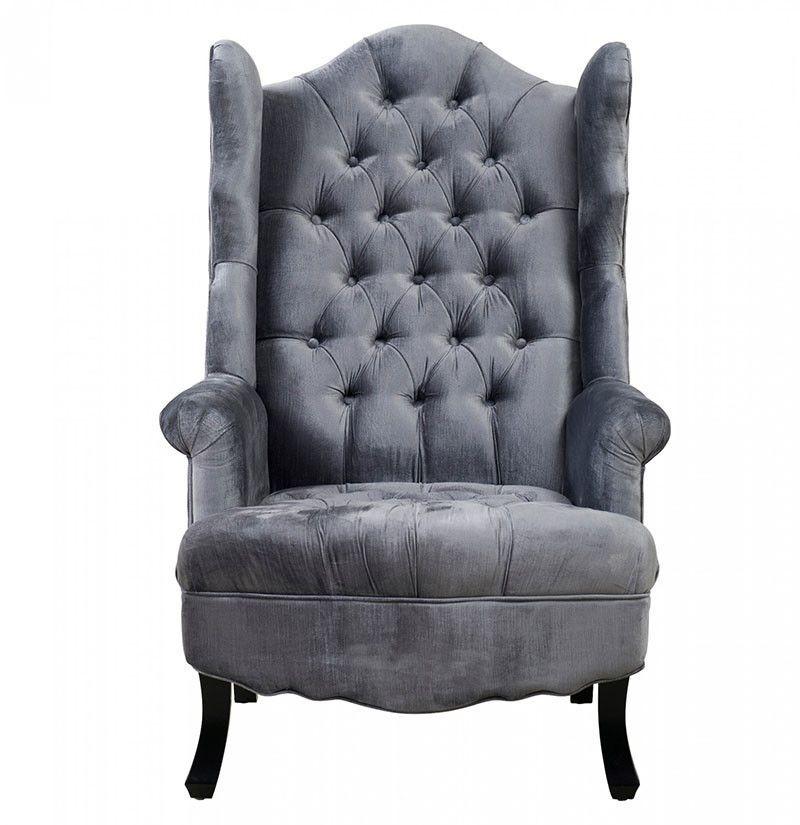 Brittany grey velvet wing chair velvet wing chair