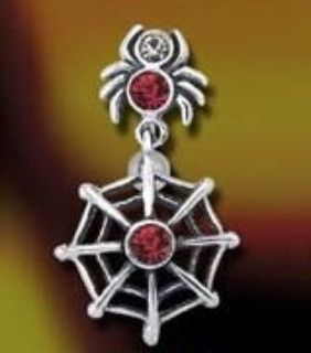 Crystal Spider and Web Navel Ring