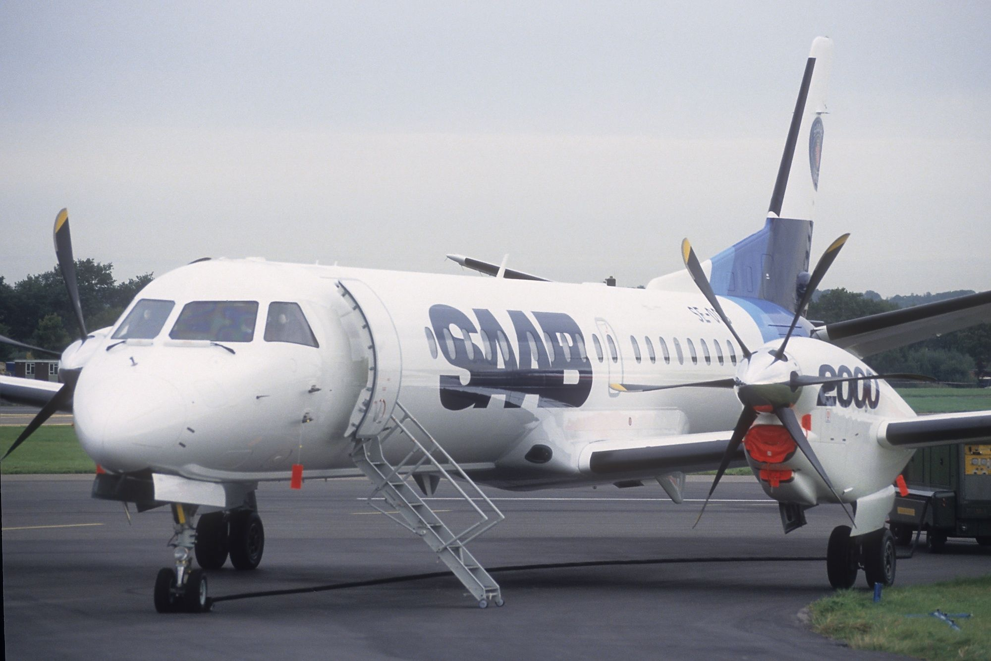 The Saab 2000 is a turbo prop aircraft able to seat 50