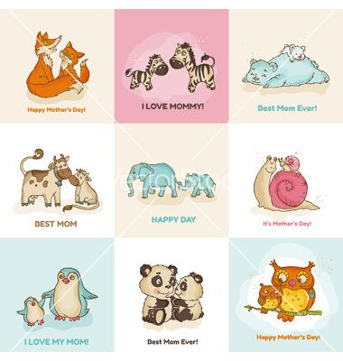Happy Mothers Day Cards With Cute Animals Vector By Woodhouse84 On Vectorstock Mother And Baby Animals Cute Animals Mothers Day Drawings
