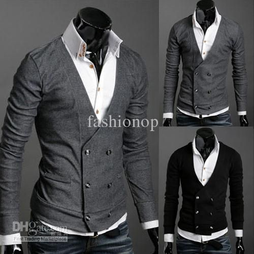 2015 Fashion Men Blazer Jacket Men Cardigan Sweater Jacket ...