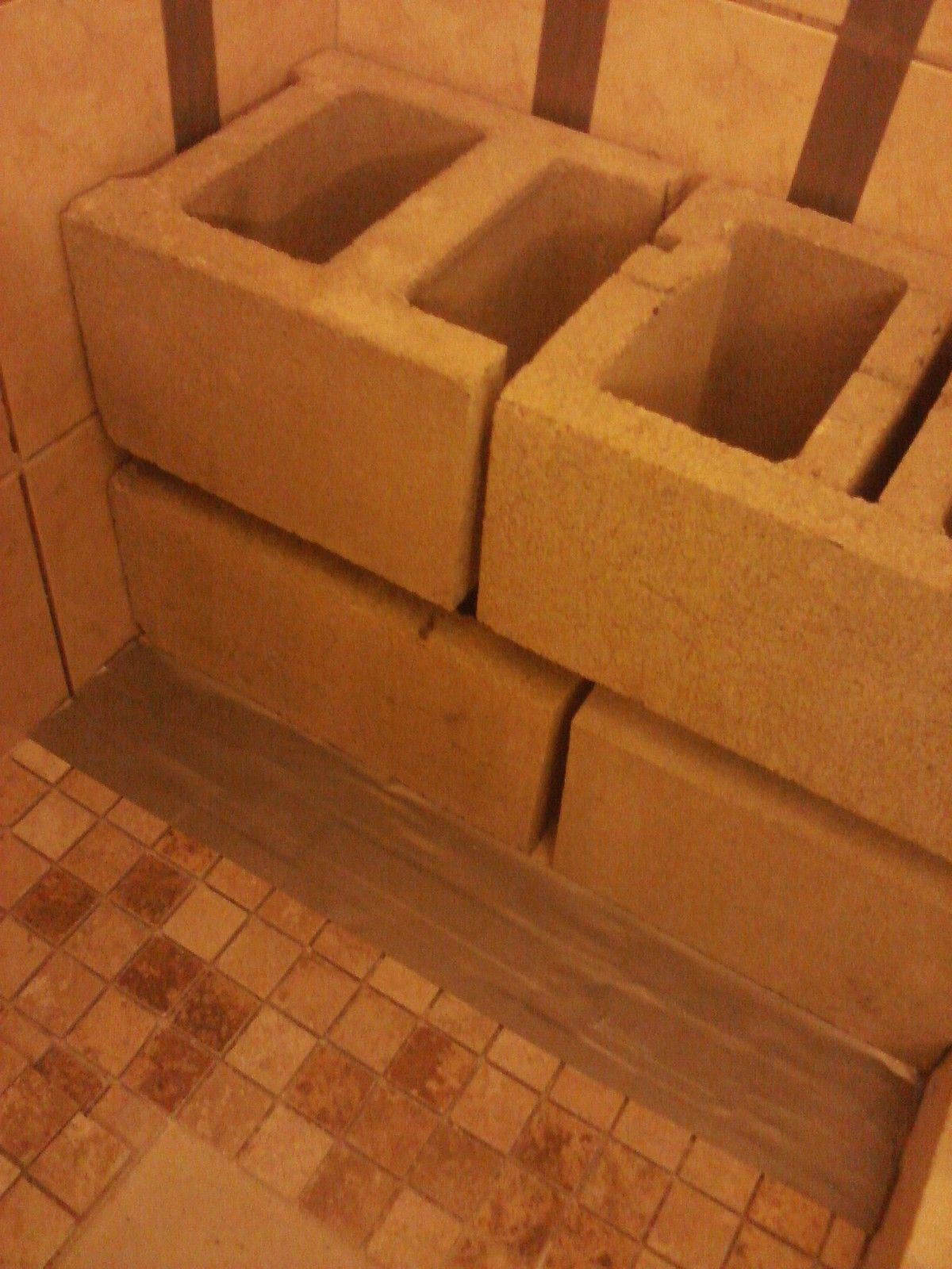 Inside shower benches wood Or concrete block | Tiny Bathroom ...