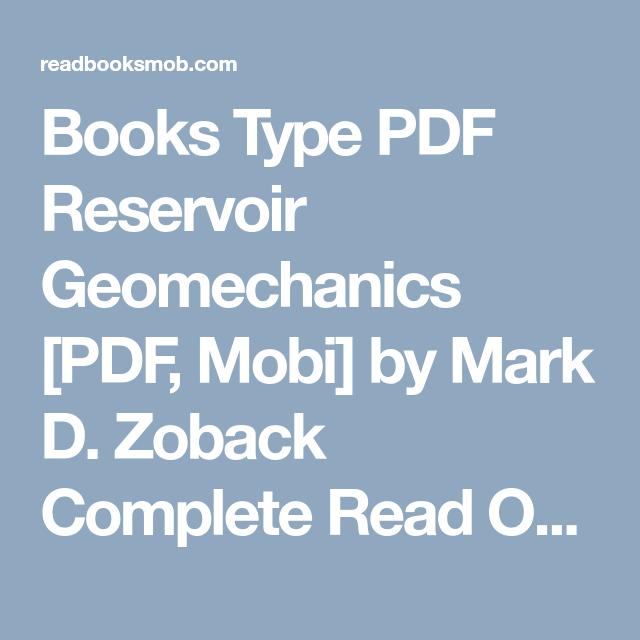 Reservoir Geomechanics Mark D Zoback Pdf