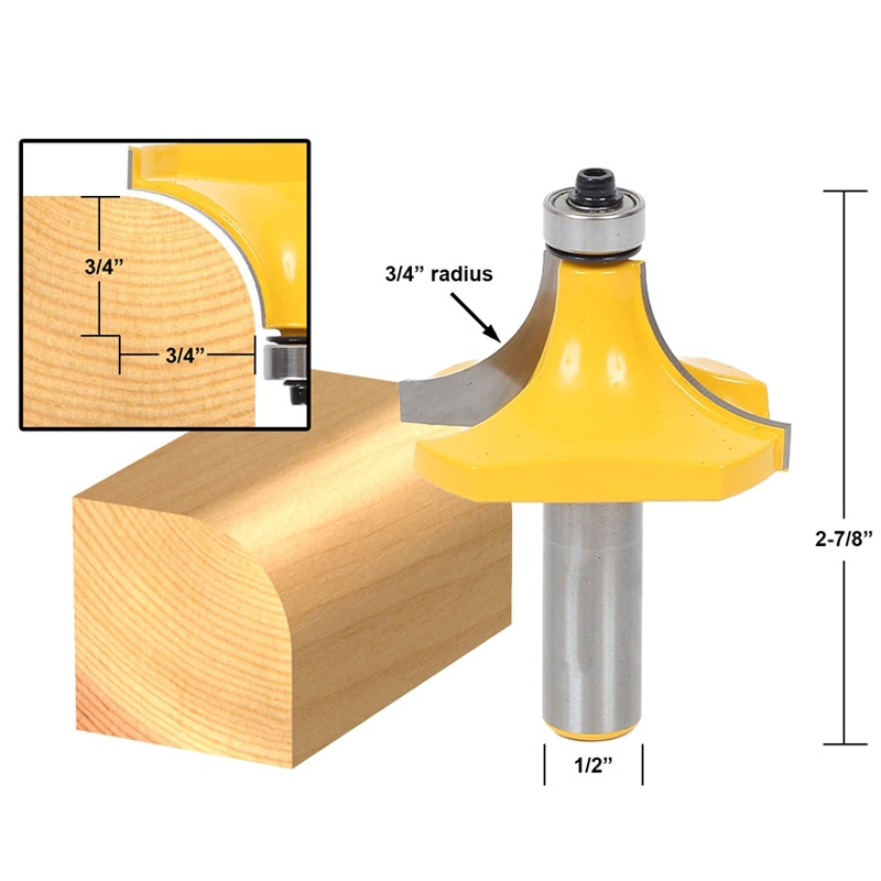 Yonico 13168 Round Over Edging Router Bit with 3//4-Inch Radius 1//2-Inch Shank