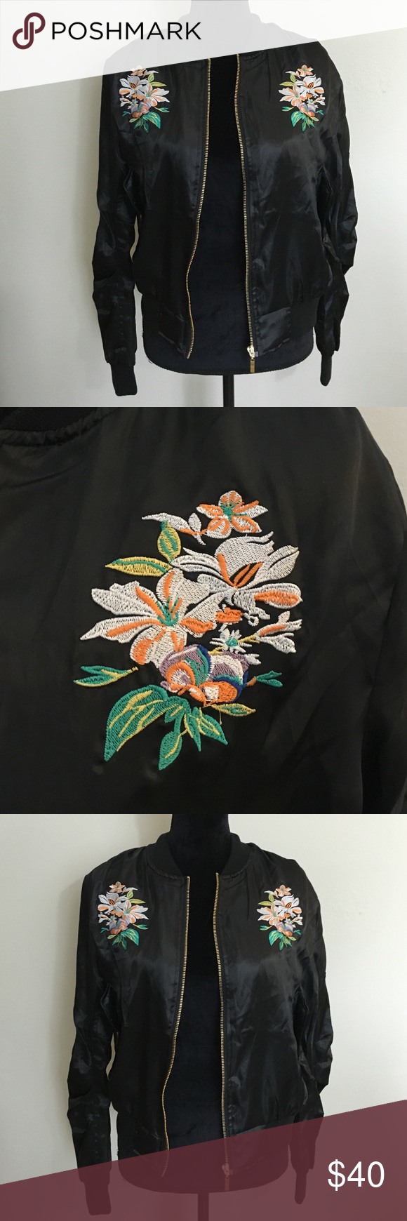 Super in super cool bomber jacket Brand new never worn!!! Amazing embroidered bomber jacket :)!!! Would fit a small/ medium! No trades! I do bundle discounts :)!! Nasty Gal Jackets & Coats