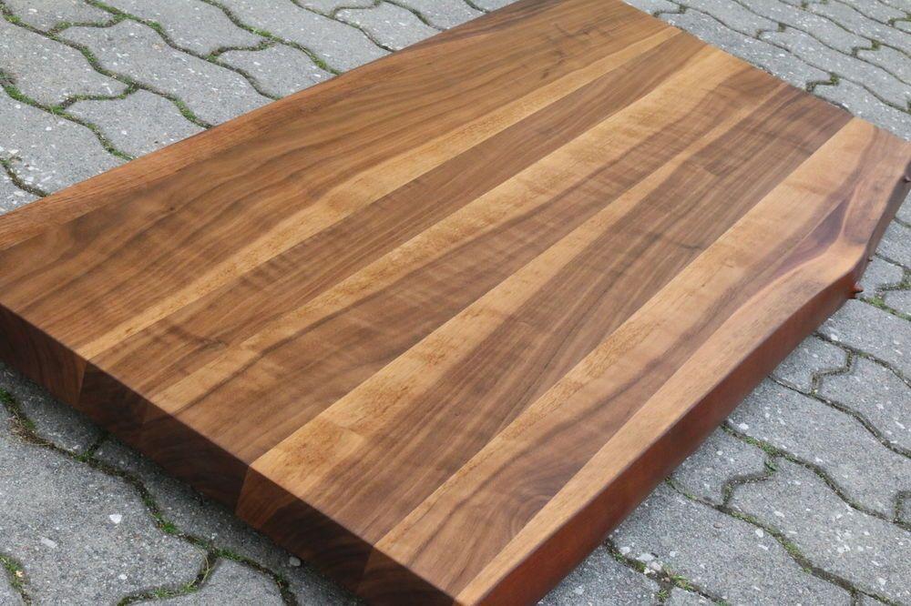 details zu waschtisch tischplatte platte nussbaum massiv holz mit baumkante neu leimholz diy. Black Bedroom Furniture Sets. Home Design Ideas