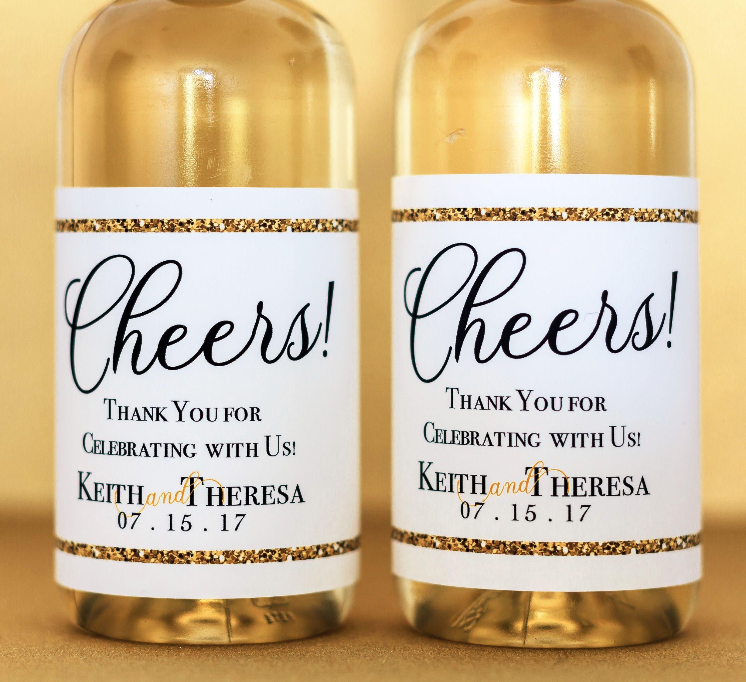 Mini Wine Bottles Labels Wedding - Custom Mini Wine Labels - Gold ...