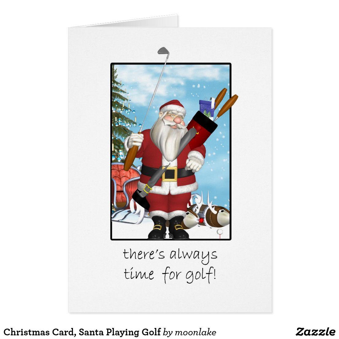 Christmas Card, Santa Playing Golf Holiday Card | Pinterest