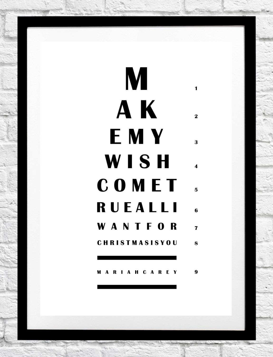All I Want For Christmas Is You Eye Chart Mariah Carey Minimalist Poster Print Original Home Decor Wall Art Gift Ide Eye Chart Lyric Prints Poster Prints
