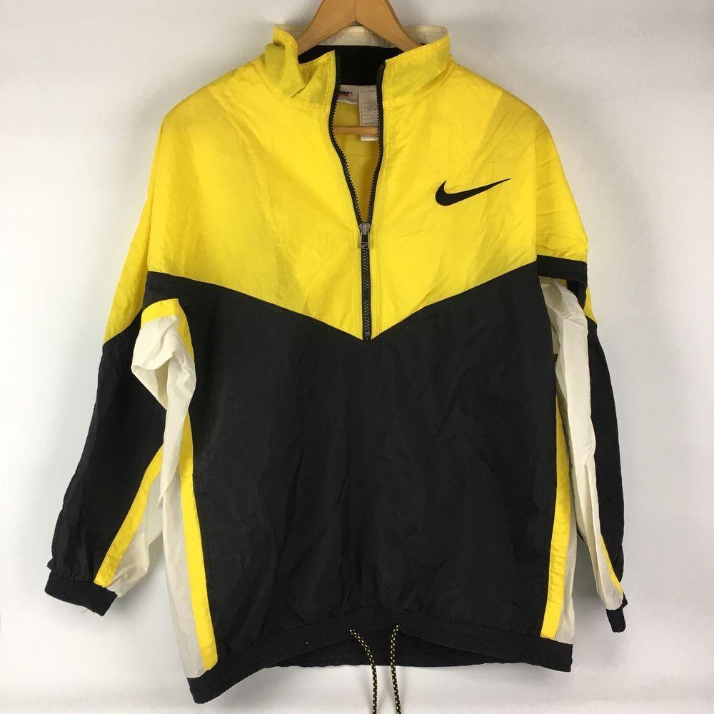 b2a265cd0 Vintage Nike Swoosh Windbreaker Jacket XL 18/20 Yellow Black Track Pullover  Zip #Nike #Windbreaker #Everyday
