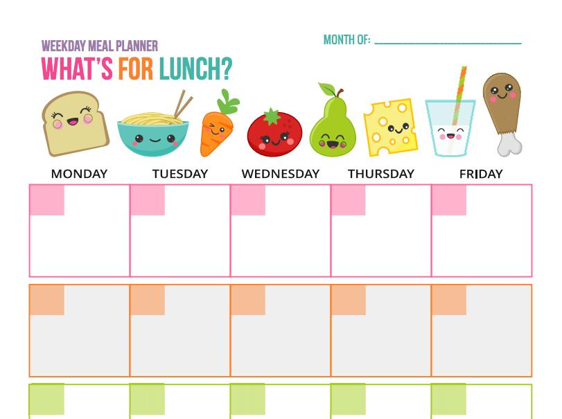 Calendario Repas.Planifiez Vos Dejeuners De La Semaine Au Debut Du Mois