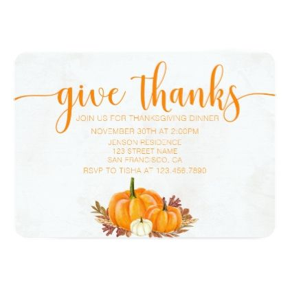 Fall Pumpkins Thanksgiving Invitation  Thanksgiving Invitations