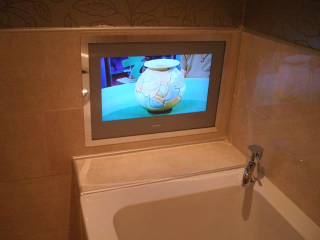 Bathroom tv single point media bespoke integrated home for Home automation shower