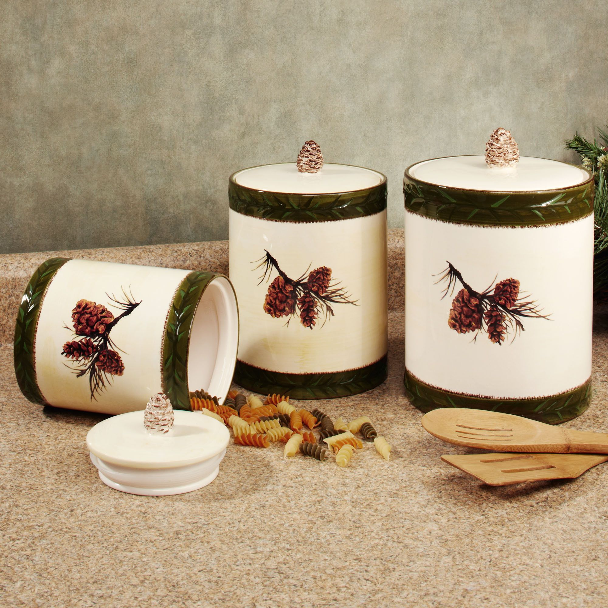 Pine Cone Rustic Kitchen Canister Set | Kitchen canister ...