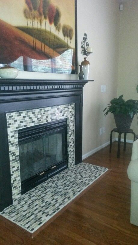 Stick On Tile Decorations Cool My Diy Tile Fireplace Surroundno Before Pic But It Was Builder Inspiration