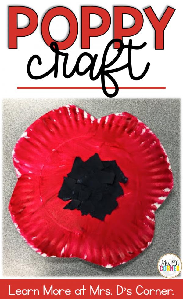 Poppy Craft for Memorial Day #remembrancedaycraftsforkids