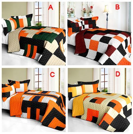 9edee516f53 Trendy Black Orange Teen Bedding Boy or Woman Full Queen Quilt Set  Patchwork Geometric Bedspread. See more by checking out the image link