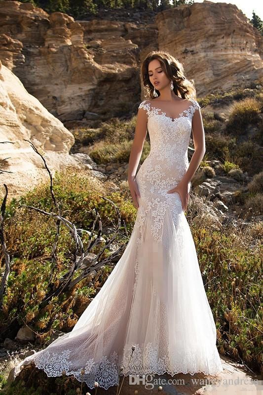 2018 Luxury White V-Neck Mermaid Lace Beach Country Wedding Dress ...