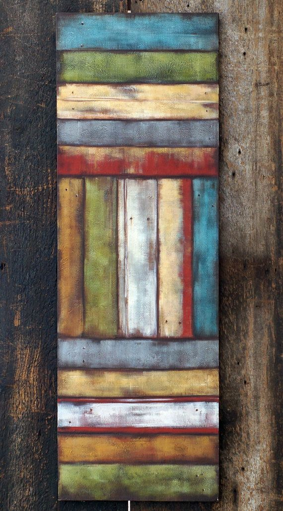 Rustic Barnwood Art Large Canvas Painting Tall Acrylic