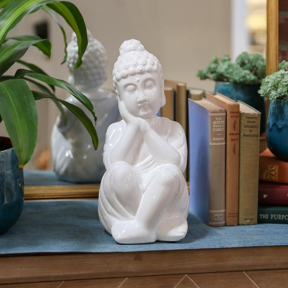 Urban Trends Collection 13 in. H Buddha Decorative Figurine in White Gloss Finish 46754 - The Home Depot #buddhadecor