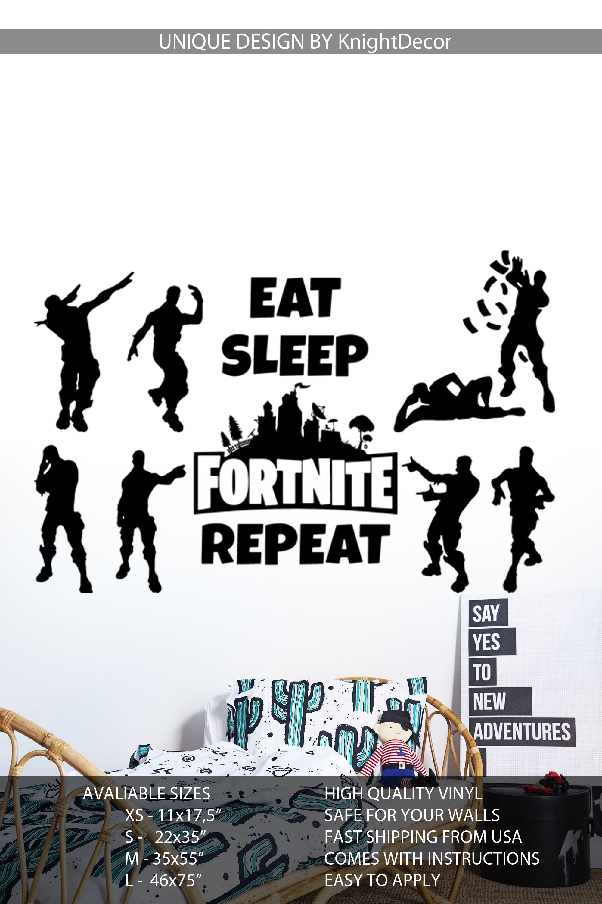 Fortnite Wall Decal Fortnite Vinyl Sticker Gaming Sticker Wall Decal Fortnite Battle Royale Wall Decals Vinyl Sticker Living Room Decals