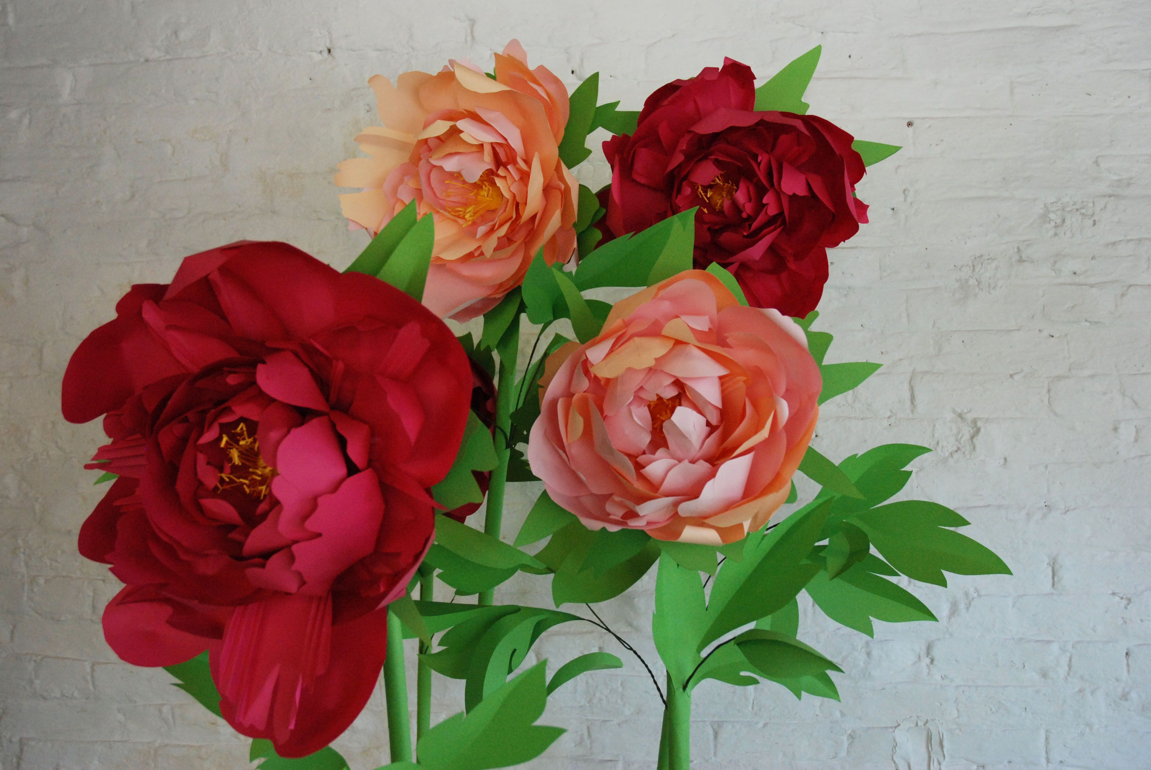 Giant Paper Flowers Rose Peony Iris Table Centre Table