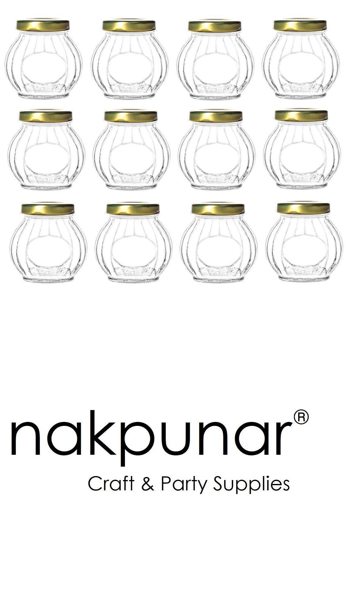 038ef77cce61 Canisters and Jars 20654: Nakpunar 12 Pcs 10 Oz Round Glass Jars ...