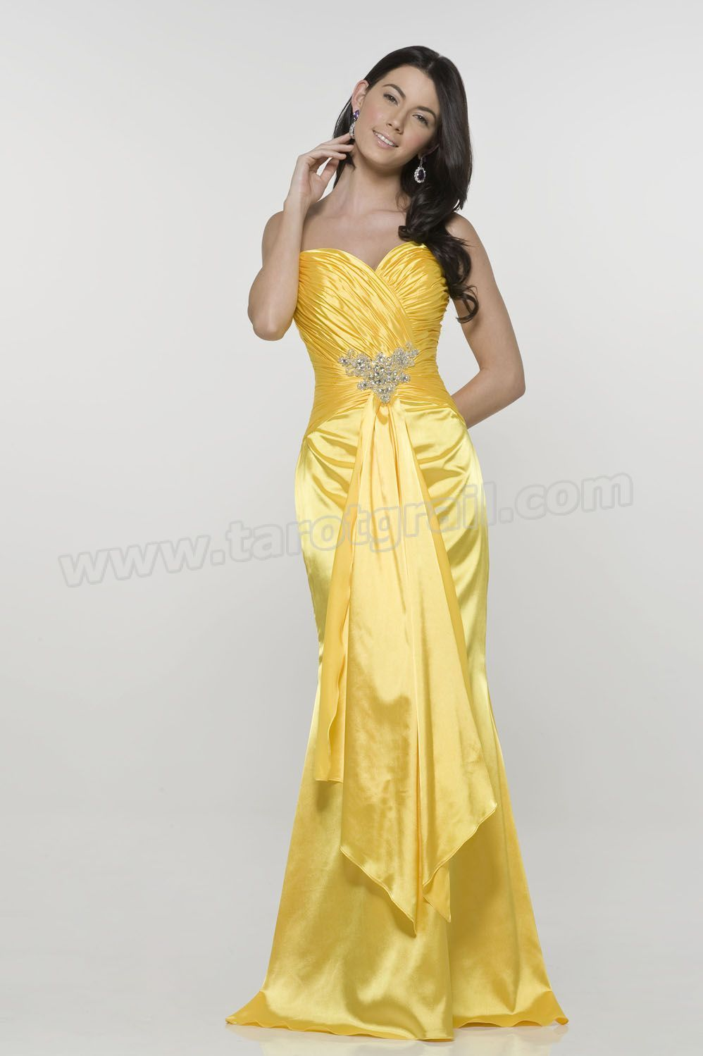 Sheath Sweetheart Beading Ruched Yellow Evening Gowns | Evening ...