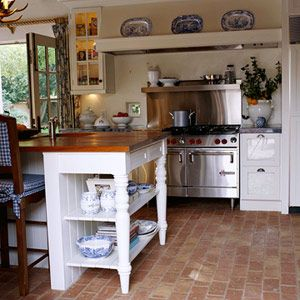 Find This Pin And More On Let S Get A New Kitchen Whitehaven Kitchens With Brick Floors