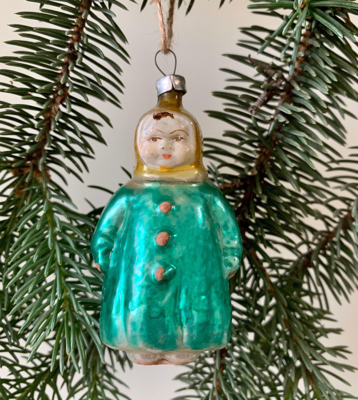 Rare Soviet Christmas tree decoration  Girl in winter coat  Glass Xmas tree ornament  New Year  USSR 1950s