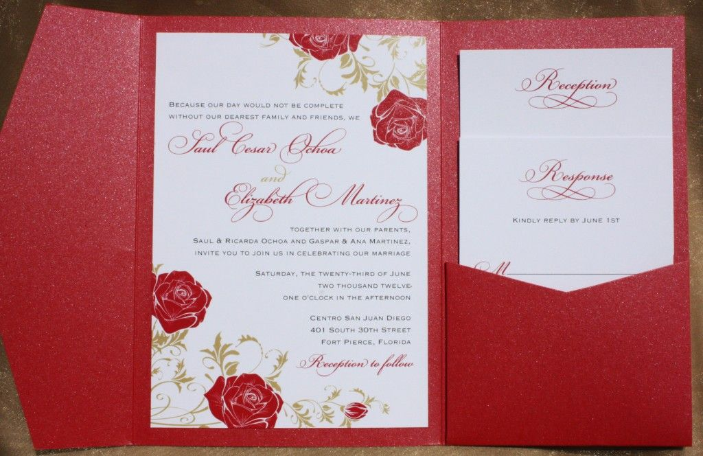 red rose and gold leaves pocket invitation wedding invitation, Wedding invitations