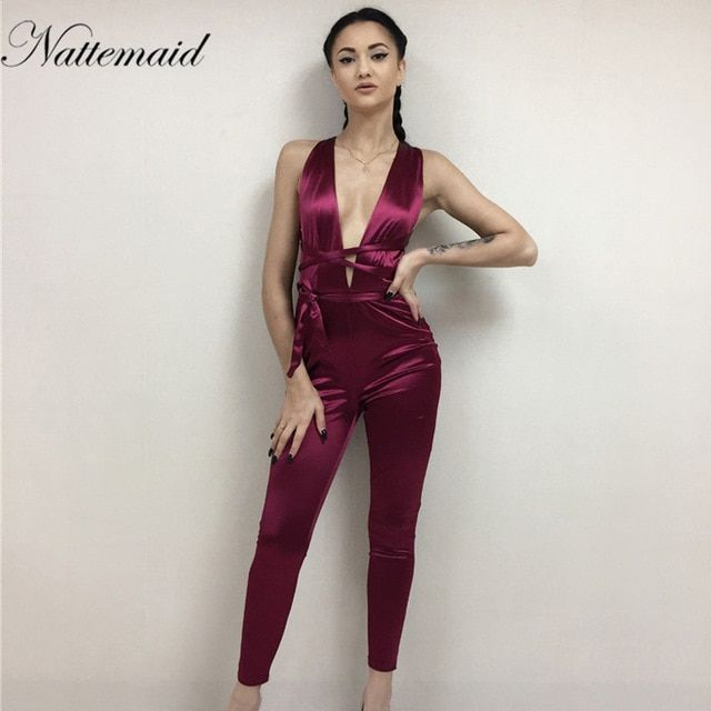 756cfae2b3682 NATTEMAID 2017 Women jumpsuit summer sexy red bodycon Rompers Deep v ...