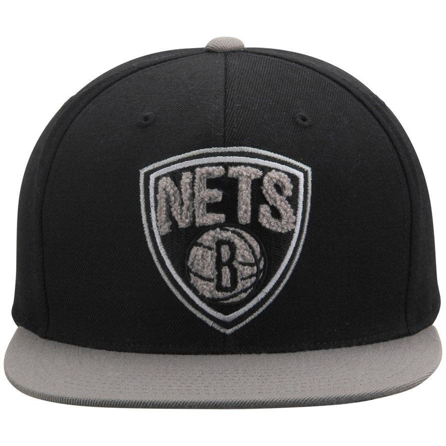 ad9e7e1004929c Men's Brooklyn Nets Mitchell & Ness Black/Gray Chrome Chenille Snapback  Adjustable Hat #Mitchell