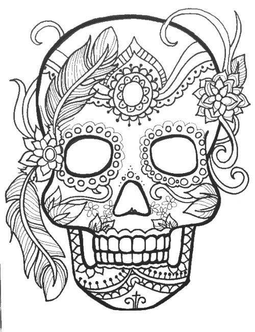 Раскраска Череп в узорах ,череп, узоры, цветы, ,Череп ...