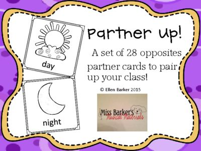 Partner Up! Opposites pairing cards from Miss Barker's Musical Materials on TeachersNotebook.com -  (9 pages)  - Use these opposites cards to help your students pair up. Great for classroom as well as Music teachers!