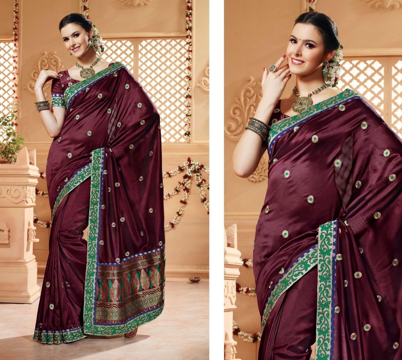 Maroon silk saree maroon banarasi silk saree  with unstitched blouse  indian