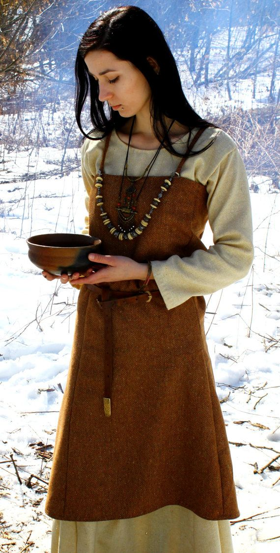 Viking Apron Early Medieval Scandynavian Apron For Viking Reenactors Viking Costume Viking Dress Viking Costume Apron Dress