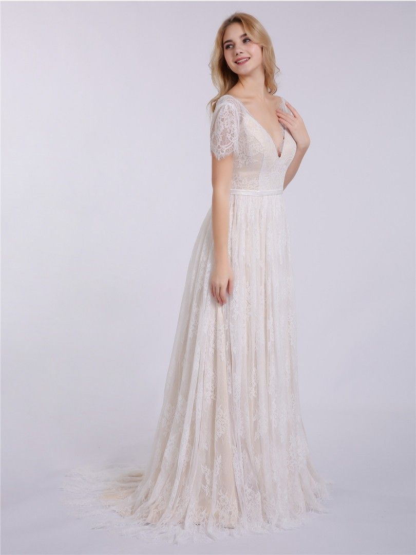 b57670ee301 Hulda V-neck Lace Wedding Dress with Short Sleeves