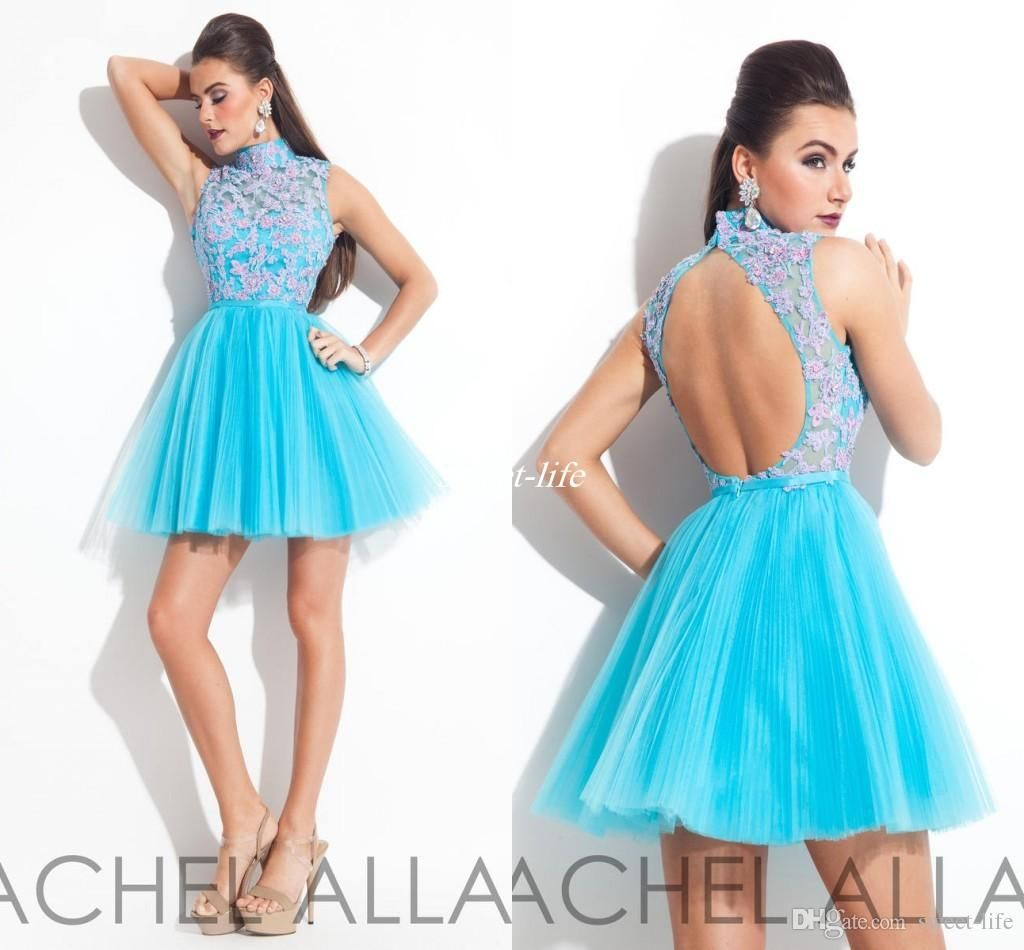 High Neck Homecoming Dresses Backless Appliqued Light Sky Blue ...
