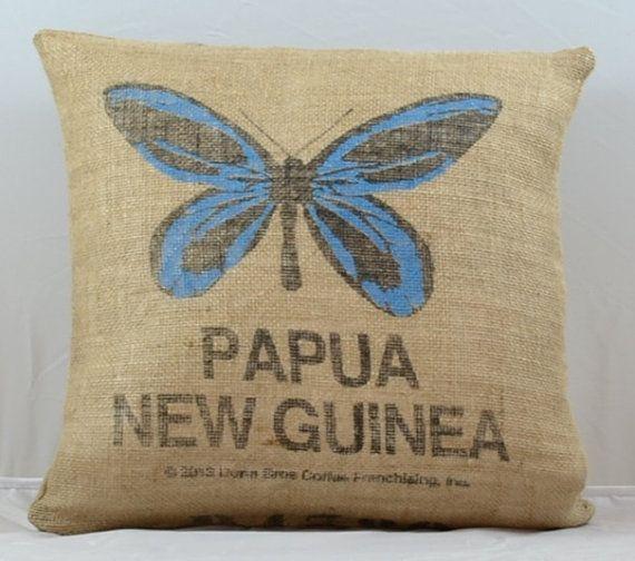 Burlap Pillows Butterfly Pillow Decorative Pillow Throw